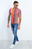 Mens Multicoloured Striped T-shirt