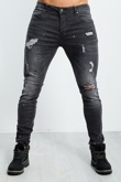 Charcoal Distressed Denim Paint Splat Skinny Jeans