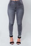 Chloe Brockett Charcoal Distressed Hem Denim Skinny Jeans