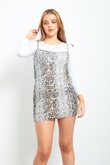 Snake Print Bodycon Pinafore Dress