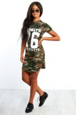 Khaki Camouflage 76 Printed Bodycon Dress