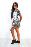 Grey Camouflage 98 Printed Bodycon Dress