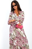 Hot Pink Leopard Print Cross Over Frill Maxi Dress