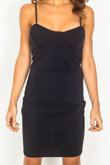 Black Strappy Bust Cup Detail Bodycon Dress
