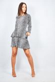 Black Leopard Print Tiered Frill Mini Dress