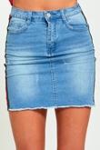 Denim Side Stripe Raw Hem Mini Skirt
