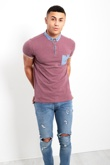 WINE SHORT SLEEVE POLKA DOT POLO SHIRT