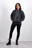 Dark grey pullover pocket detail hoodie