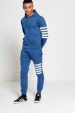Mens Denim Asymmetrical Striped Hooded Tracksuit