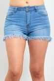 Frayed Hem Side Pearl Detail Shorts