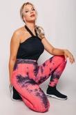Pink Textured Tie Dye High Waist Gym Leggings