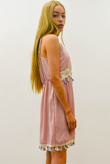 Blush Butterfly Embroidered Tassel Hem Dress