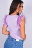 Lilac Frill Mesh Sleeve Ribbed Bodysuit