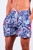 Mens Navy Paisley Print Swim Shorts