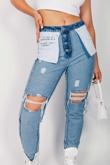 Blue Denim Printed Distressed Reversible Mom Jeans
