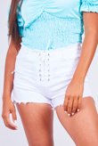 White Lace Up Denim Shorts