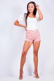 Blush Lace Up Denim Shorts