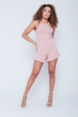 Dusty Pink Ribbed Frill Knitted Co-Ord Short Set