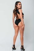 Arianna Ajtar Modelled Black Cut Out Side Crochet Trim Bodysuit