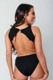 Arianna Ajtar Modelled Black Cut Out Side Crochet Trim Bodysuit