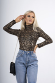 Metallic mesh leopard print high neck top
