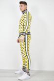 Mens Yellow Multi Broken Stripe Contrast Skinny Tracksuit