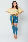 Arianna Ajtar Modelled Yellow Cross Front Strap Crop Top