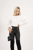 White Ribbed Balloon Sleeve Jumper
