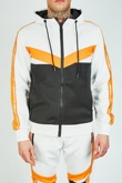 Mens Orange Colour Block Hooded Tracksuit With Band