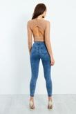 Mocha Floral Lace Cut Out Back Bodysuit