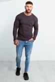 Mens Charcoal Zip Pocket Front Long Sleeve T-shirt