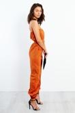 EJ026-2- Rust Flap Pocket Bardot Belted Jumpsuit