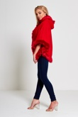 Red Faux Fur Hooded Cape