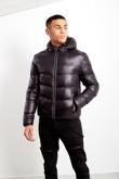 Black Mens Hooded Puffer Jacket