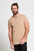 Mens Stone Pocket Front Polo T-Shirt