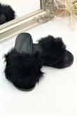 Black Fluffy Faux Fur Sliders