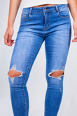 Blue Wash Open Knee Rip Skinny Jeans