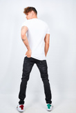 Mens White Ribbed Detail T-Shirt