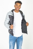 Mens Grey Reflective Contrast Quilted Jacket