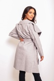 Grey Marl Belted Waterfall Duster Coat