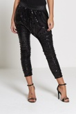 Black Harem Style Sequinned Trousers