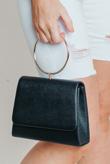 Hayley Hughes Modelled Black Metal Ring Handle Shoulder Bag