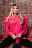 Hayley Hughes Modelled Fuchsia Embroidered Lace Bow Neck Blouse