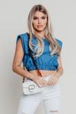 Hayley Hughes Modelled White Mini Croc Flap Chain Cross Body Bag