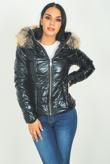 High Shine Fur Trim Hooded Puffer Coat Black
