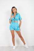 Aqua Cargo Crop Shirt and Shorts Co-ord Set