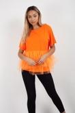 Orange Layer Mesh Hem T-Shirt