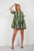 Neon Green Frill Shift Dress