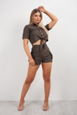 Green Cargo Crop Shirt and Shorts Co-ord Set