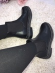 Black Leather Chelsea Boot With Stud Detail